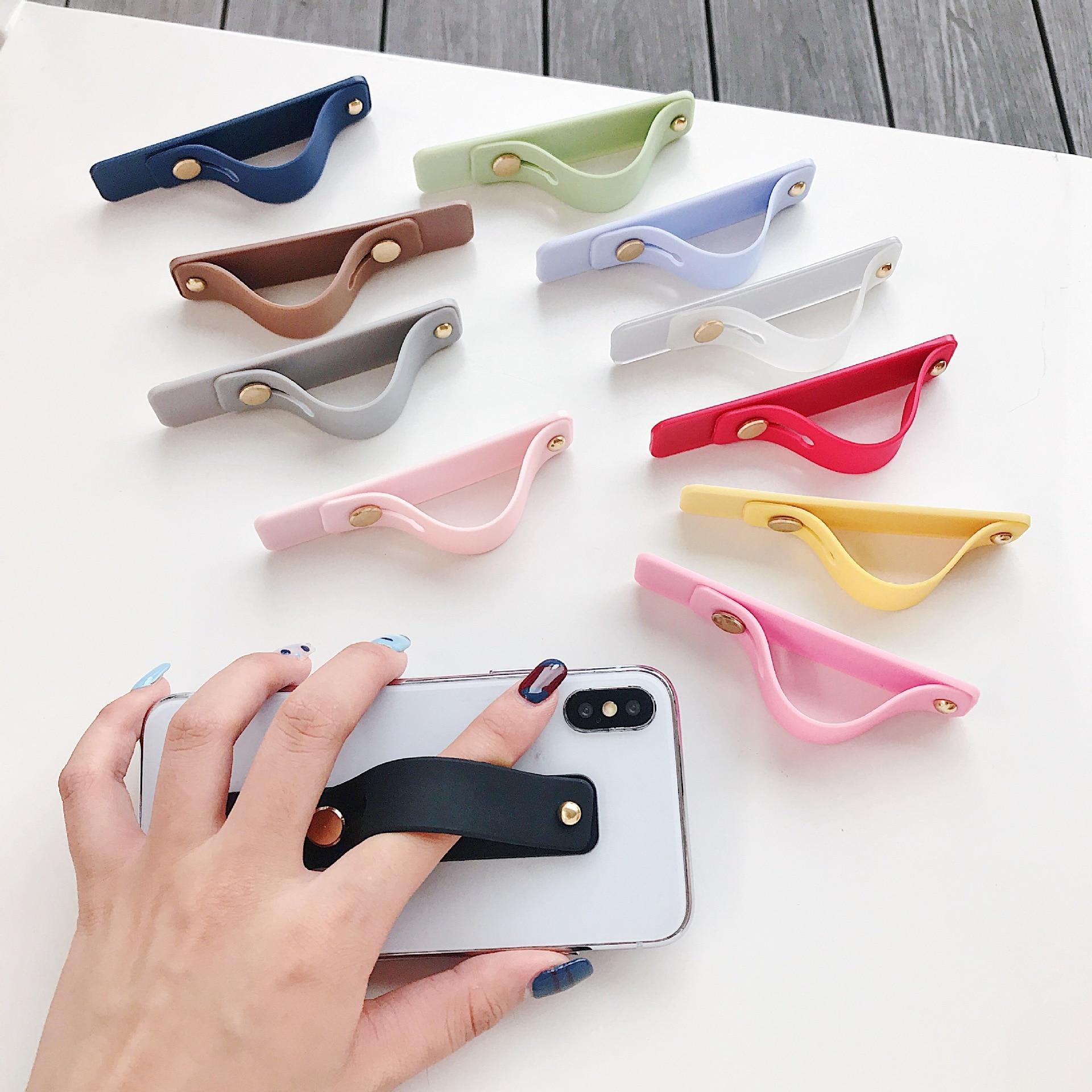 Plain Color Wrist Band Hand Band Finger Grip Mobile Phone Holder Stand Push Pull Universal Phone Socket Holder For Ring Holder