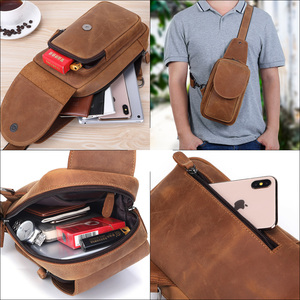 Image 5 - MISFITS crazy horse leather men chest bags fashion crossbody bag with zip pocket high quality cowhide travel messenger bags male