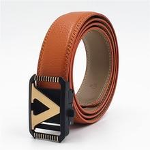 New Fashion Cowhide Waist Strap for Men Genuine Leather Alloy V Buckle Belt Designer Automatic Famous Luxury Belts