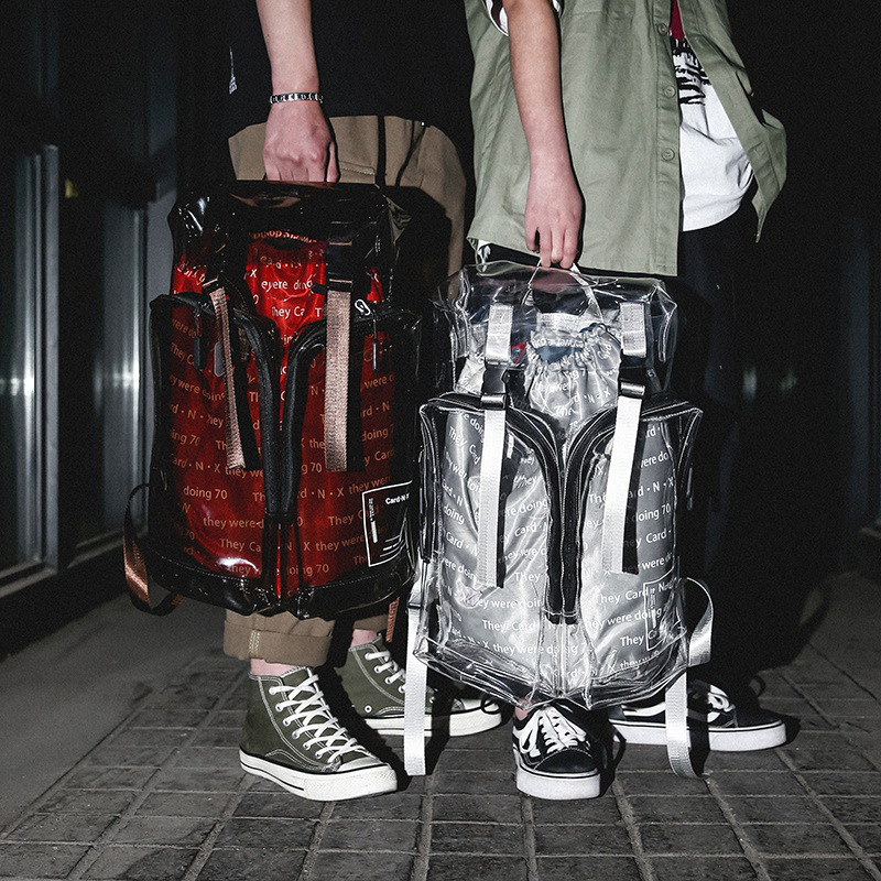 Harajuku Transparent Personality Backpacks For Man Women Clear Pvc Large Capacity Travel Bags For Teenager Unisex Waterproof Bag