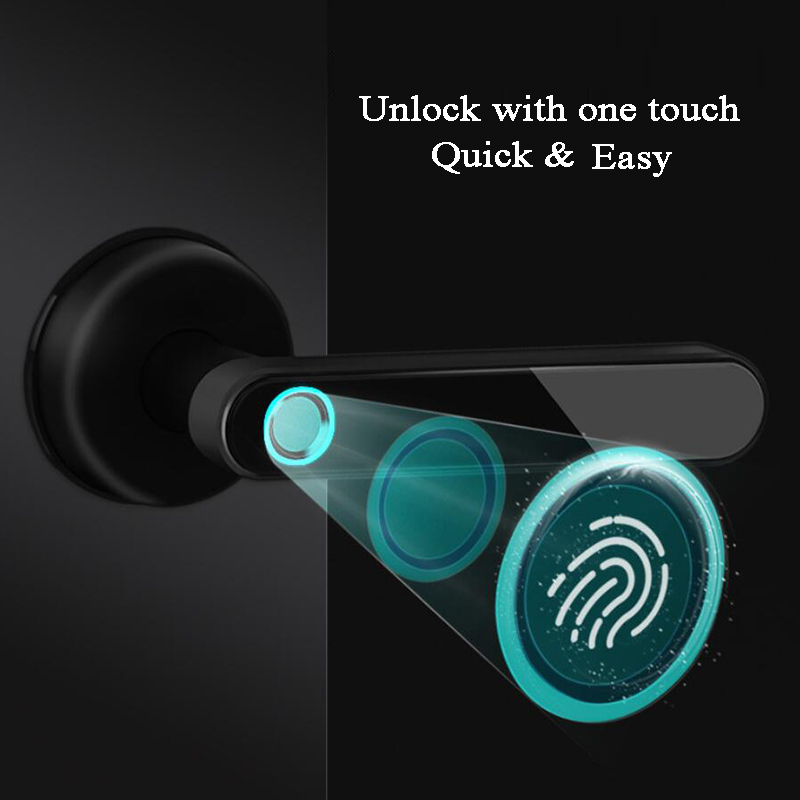 Smart Door Lock Biometric Fingerprint Phone APP Bluetooth Knob Lock Replace Electric Handle Lock Home/Office/Loft Wooden Door