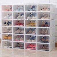 6 pcs/10 pcs 두꺼운 플라스틱 구두 주최자 상자 세트 플립 신발 투명 서랍 케이스 스토리지 박스 구두 주최자 방진