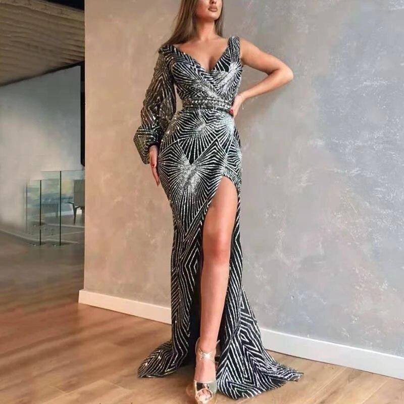 Linglewei New Spring and Summer Women's Dress sexy V-Neck long sleeve slim dress