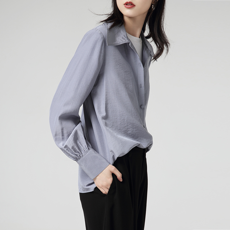 Toyouth Solid Autumn Long Sleeve Blouses And Tops Women Turn-Down Collar Shirts Casual Female Blusas