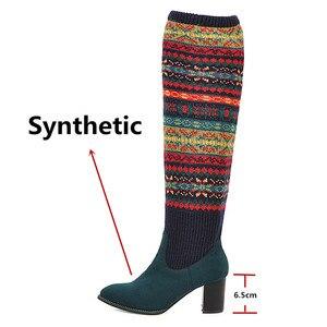 Image 3 - FEDONAS مختلط الألوان الجوارب أحذية النساء فوق حذاء برقبة للركبة حجم كبير أحذية ذات كعب عالي امرأة الخريف الشتاء الدافئة طويلة الأحذية