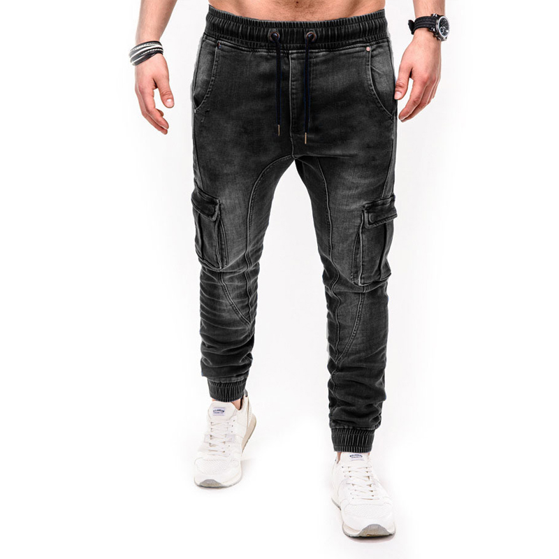 Men's Skinny Jeans Pants Moto Biker Jeans Men Slim Fit Cargo Jean Pant Male Hip Hop Denim Trousers Blue Black WO078