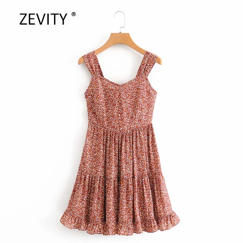 Zevity Women french vintage printing sling mini Dress Ladies pleats ruffles casual slim vestido side zipper party Dresses DS4027