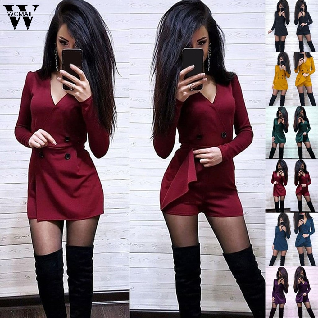 Womail Jumpsuit Women V Neck Solid Playsuit Red Long Sleeve Casual Button Office Shorts Playsuits Elegant Asymmetrical Jumpsuit