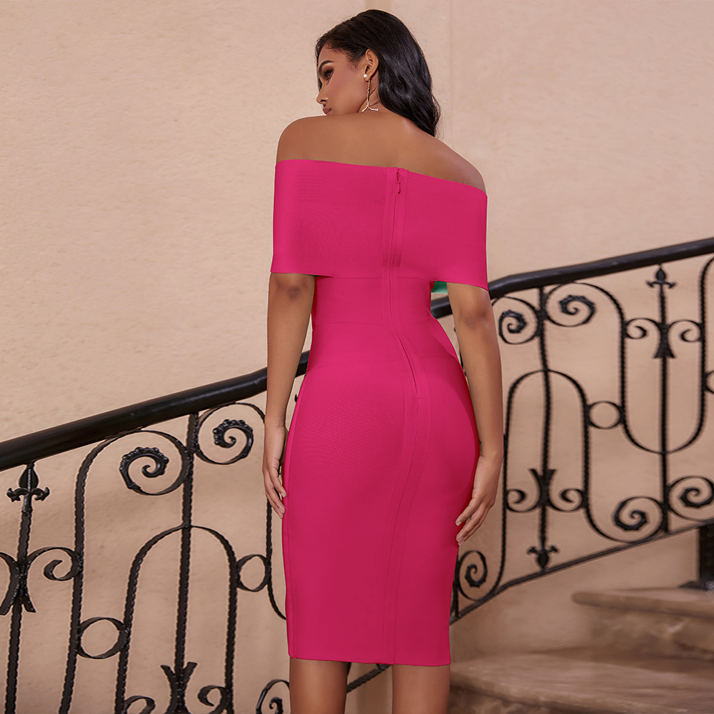 Deer Lady Vestido Bandage 2020 New Arrivals Off Shoulder Bandage Dress Women Knee Length Sexy Celebrity Party Dress Bandage