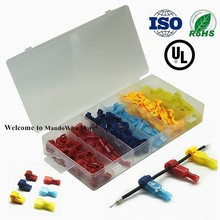 цена на 120pcs T-Tap Wire Connectors, Self-Stripping Quick Splice Electrical Wire Taps, Insulated Male Quick Disconnect Spade Terminals
