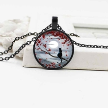 New classic moon cat crystal glass necklace jewelry European and American alloy pendant retro accessories