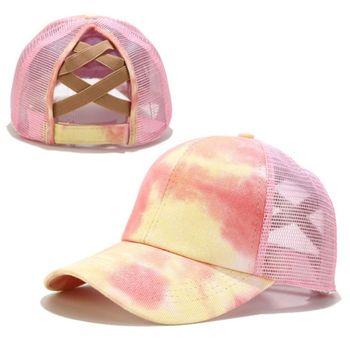 striped criss cross back swing dress Women Colorful Tie-Dye Baseball Cap Criss Cross Ponytail Mesh Back Trucker Hat B95F