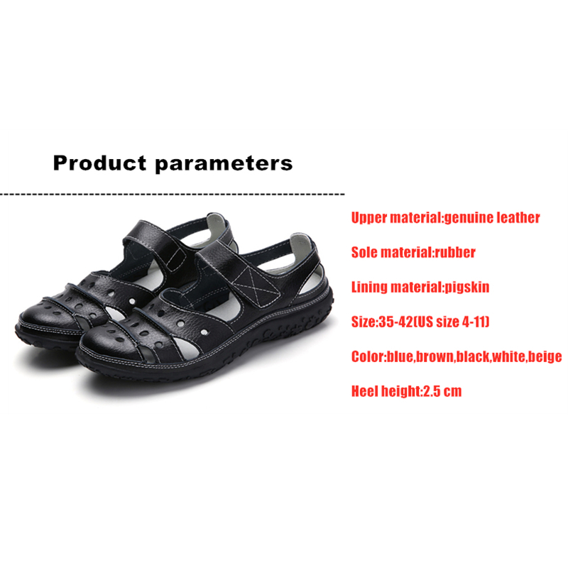 Image 5 - DONGNANFENG Mother Womens Female Ladies Genuine Leather White Shoes Sandals Hook Loop Summer Cool Beach Hollow Soft LLX 9566Womens Sandals   -
