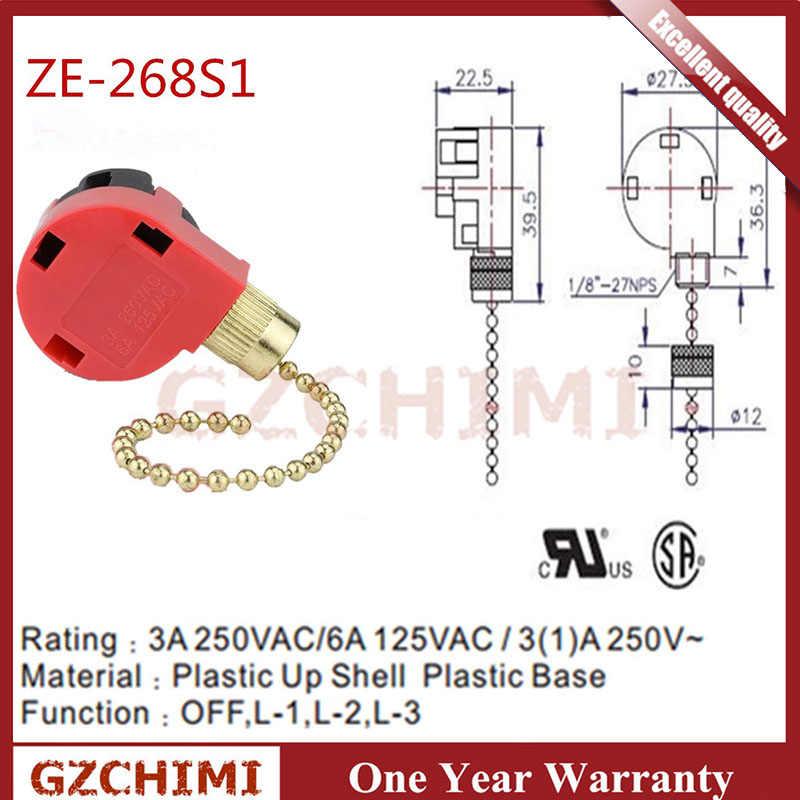 ze268s1 ceiling fan switch for zing ear ze268s6 3 speed 4 wire pull chain  switch hunter ceiling fan switch