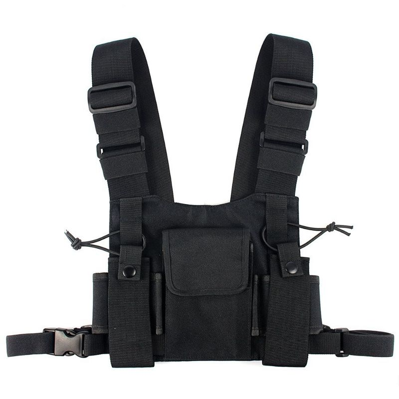 ABKK-Radios Pocket Radio Chest Harness Chest Front Pack Pouch Holster Vest Rig Carry Case For 2 Way Radio Walkie Talkie For Baof