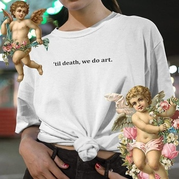 Fashionshow-JF Hot Sale Til Death We Do Art Tumblr Quotes T-Shirt Unisex Grunge White Graphic Tee Street Wear Cool Shirt
