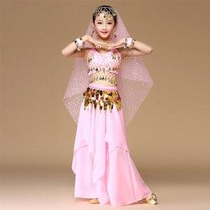 Image 2 - 5 teile/satz Rosa Stil Kinder Bauchtanz Kostüm Oriental Dance Kostüme Bauchtanz Tänzerin Kleidung Indischen Tanz Kostüme Für Kinder