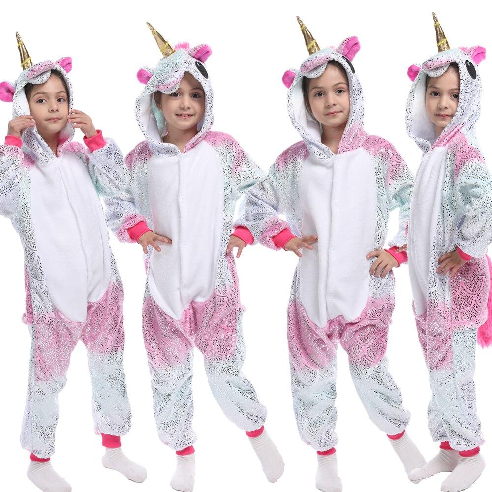 Children Kigurumi Unicorn Pajamas Kids Baby Animal Overalls Jumpsuit Onesie Panda Pajama Sleepwear Girls Cosplay Pyjama Pijamas 2