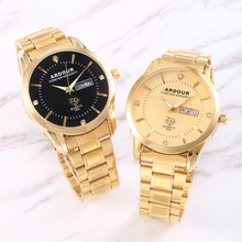 цена на Men Luxury 18K Gold Watches Golden Steel Quartz Watch Male Wristwatch Unique Style Big Dial Men Military Watch Relogio Masculino