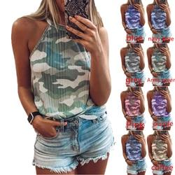 2021 Summer Sexy Women's Camouflage Print Sleeveless Halter Vest Women's Top
