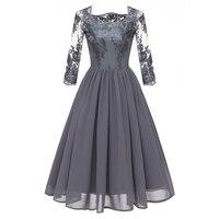 Fashion Patchwork Mesh Lace Dress Women Vintage O Neck Plus Size Party Dresses Female Chic Slim Autumn Long Sleeves A Line Dress