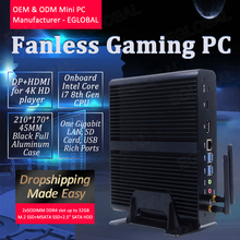 Eglobal Fanless Mini PC Intel Core i7 7500U Windows 10 Micro Computer SD Card DP HDMI 4K Display Wireless Wifi 4 USB3.0