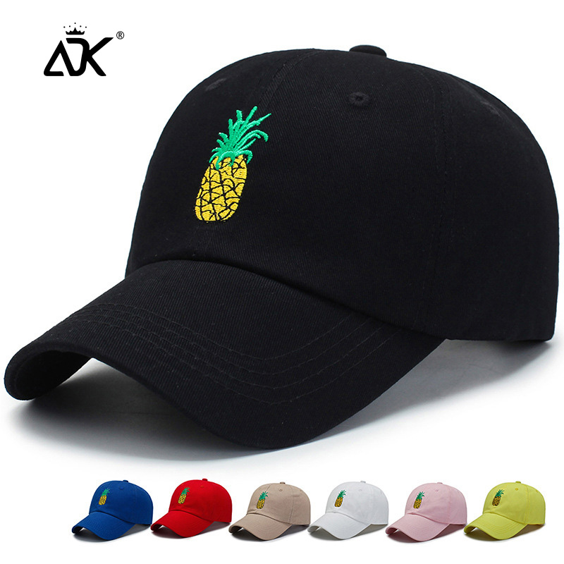Pineapple Embroidery Baseball Cap Cotton 100% Summer Spring Cap Casquette Dad Hat Women Casual Snapback Streetwear Hip Hop Cap