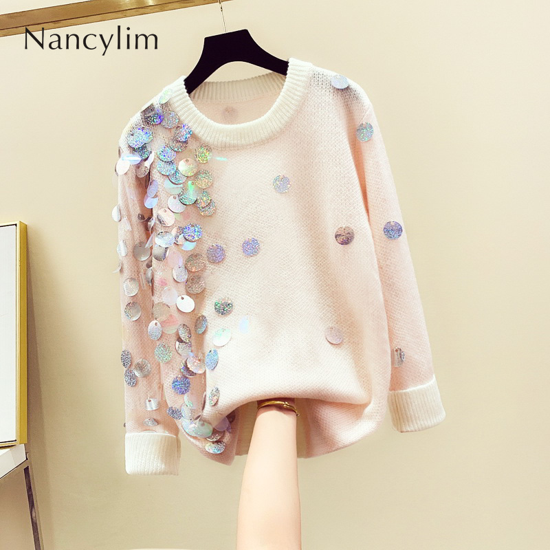 Sequins Lazy Pullover Women Sweater 2019 Autumn New Koreanstyle Loose Long Sleeved Knitted Sweater Girls Lady Long Pullovers