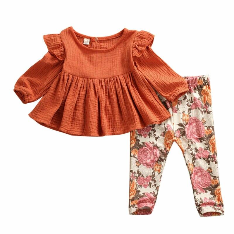 2020 Barnd Newborn Kids Baby Girls Flower print Clothes Top Cotton Linen T Shirt Floral Pants Tracksuit Outfits Sweet Autumn Set