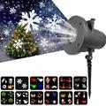 Рождественский лазерный проектор анимационный эффект Крытый/Открытый прожектор для Хэллоуина 12 узоров Снежинка/Снеговик лазерный свет