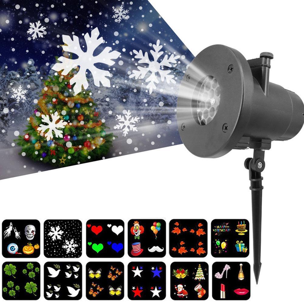 Christmas Laser Projector Animation Effect Indoor/Outdoor Halloween Projector 12 Patterns Snowflake/Snowman Laser Light