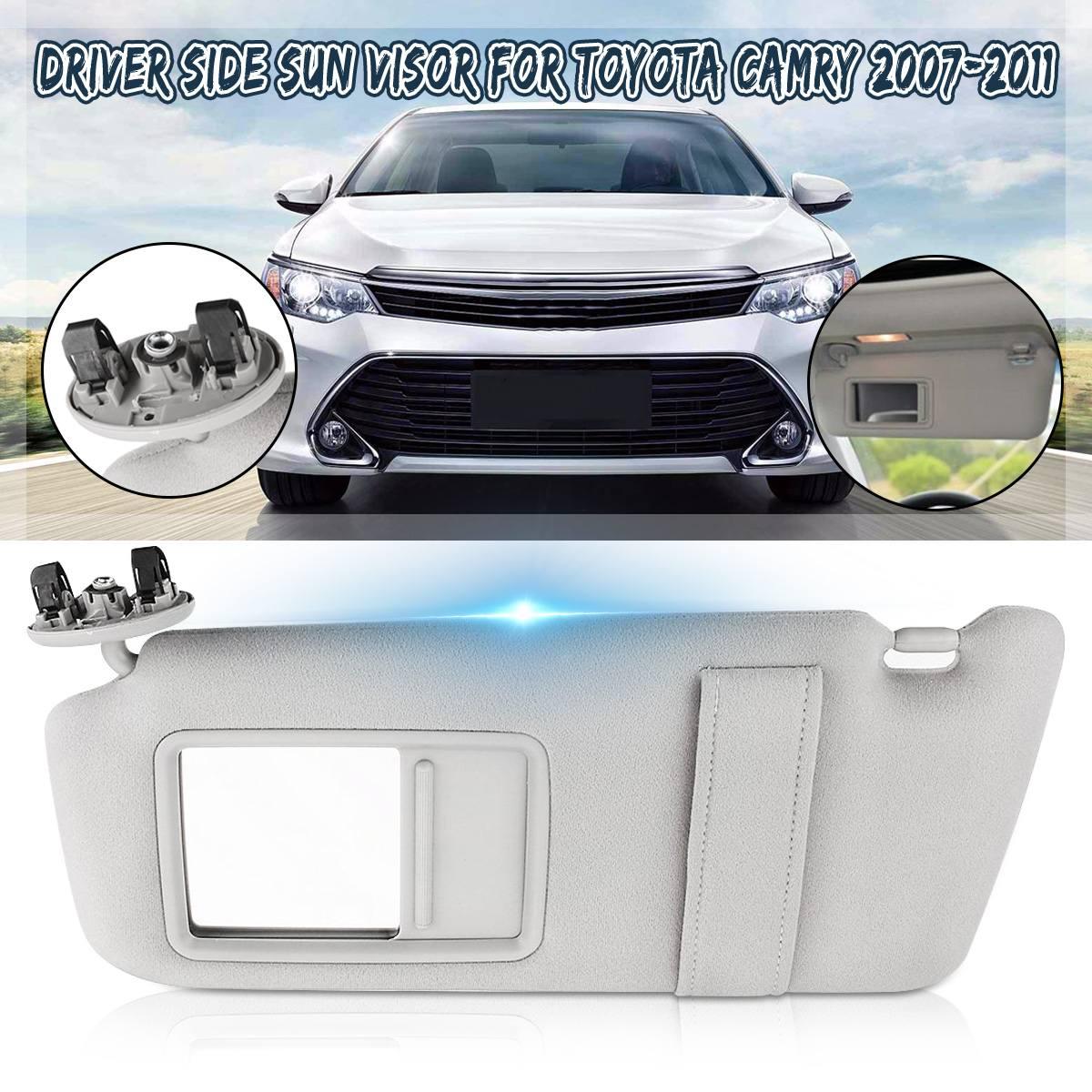 1 peça esquerda viseira de sol do carro espelho de maquiagem para toyota camry 2007 2008 2009 2010 2011 windscreen sun viseira acessórios automóveis cinza