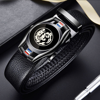 Belts for 3.5cm Width Sports Car Brand Fashion Automatic Buckle Black Genuine Leather Men's Jeans High Quality Waist Male Strap 16