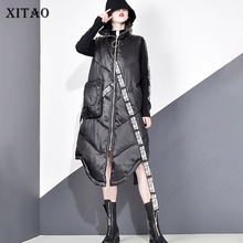 XITAO Women Black Sleeveless Pocket Loose Vest 2019 New Mandarin Collar Sleeveless Casual Vest Female Solid Color Coat ZLL2158