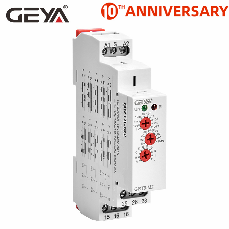 Free Shipping GEYA GRT8-M 16A Multifunction Timer <font><b>Relay</b></font> with 10 Function Choices AC DC 12V <font><b>24V</b></font> <font><b>220V</b></font> 230V Time <font><b>Relay</b></font> image