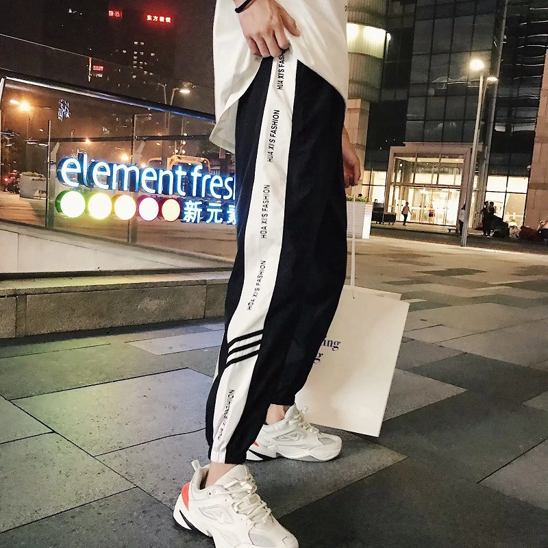 Men's Skinny Casual Pants Loose Korean-style Students Sports Sweatpants Summer Beam Leg Capri Pants Sub-Fashion