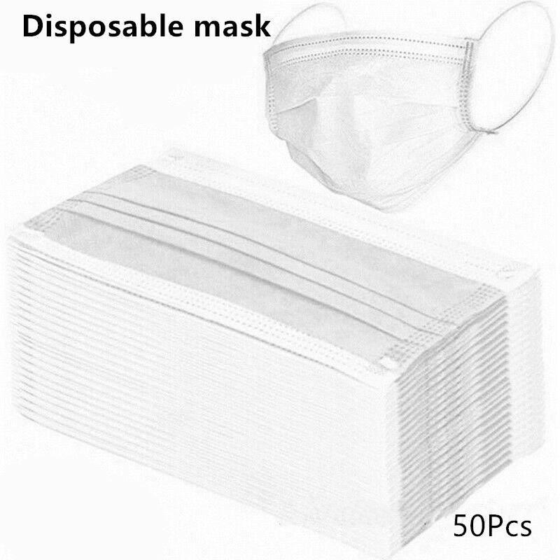 50/10Pcs Disposable Face Mask Earloop Non Woven Mask Anti PM2.5 White Mouth Muffle Anti-Dust Masks