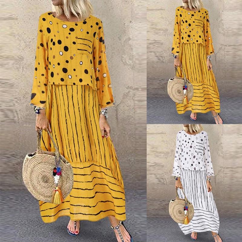 Echoine, женские длинные макси платья, в горошек, большие,  свободные, имитация двух частей, хлопок, лен, платье, осень размера  плюс, сарафан, женская одеждаПлатья