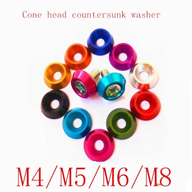 M4 8P Aluminum Washer Countersunk Flat Head Screw Bolt Washer For RC Car purple