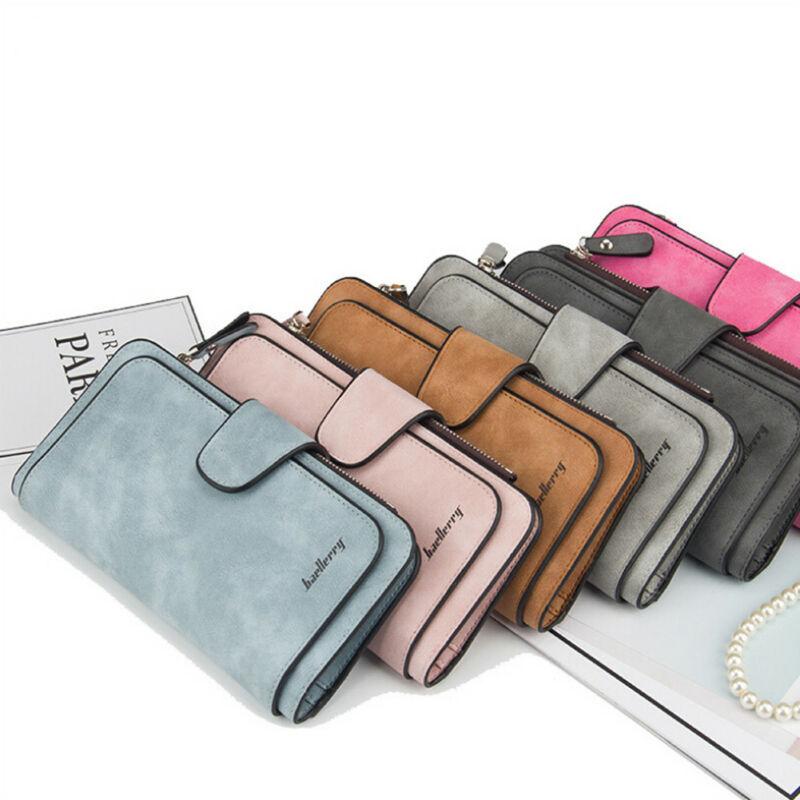 Women Lady Leather Trifold Card Wallet Clutch Checkbook Handbag Zip Purse Card Phone Holder Long Design Lady Fashion Wallets