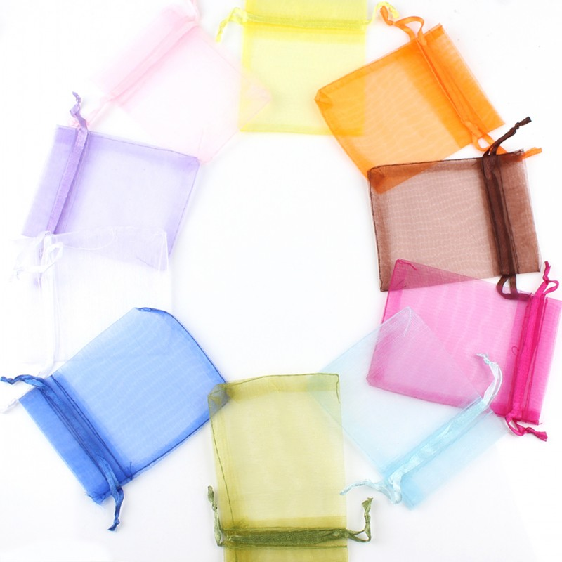 50pcs 7x9 9x12 10x15 13x18cm Drawstring Organza Bags Drawable Wedding Party Decoration Gift Bags Jewelry Packaging Pouches