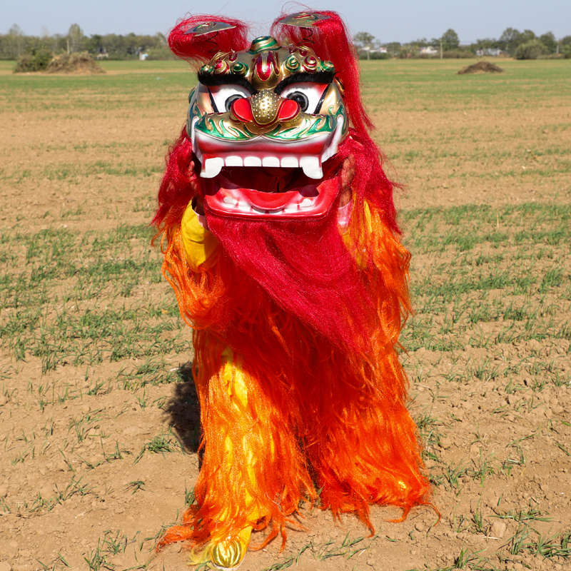 Pur Lion Dance Mascot Costume Chinese Lion Two Kids Pure Wool Advertising Outfit