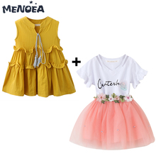 Menoea Girl Dress Summer Casual Kids Dress + Polka Dot T-shirt Clothes Floral Letter Mesh Princess Dress 3-7Y Children Clothing