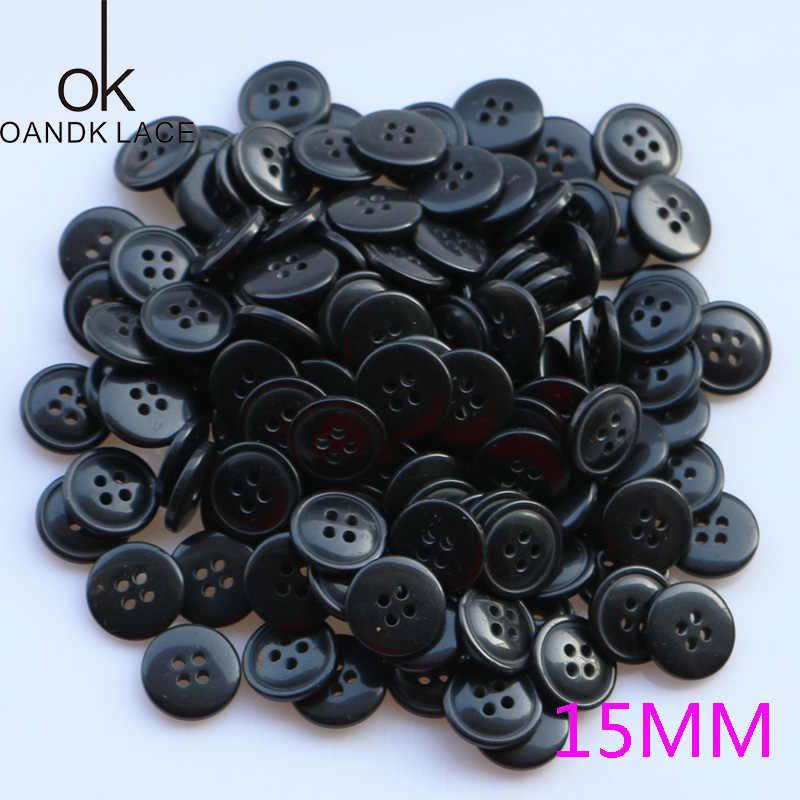 50PCS 4 หลุมพลาสติกเรซิ่นรอบปุ่มสีดำสีขาวปุ่มเย็บ Scrapbooking DIY