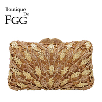 Boutique De FGG Elegant Champagne Crystal Flower Women Minaudiere Evening Bags Wedding Clutch Bridal Diamond Purses and Handbags