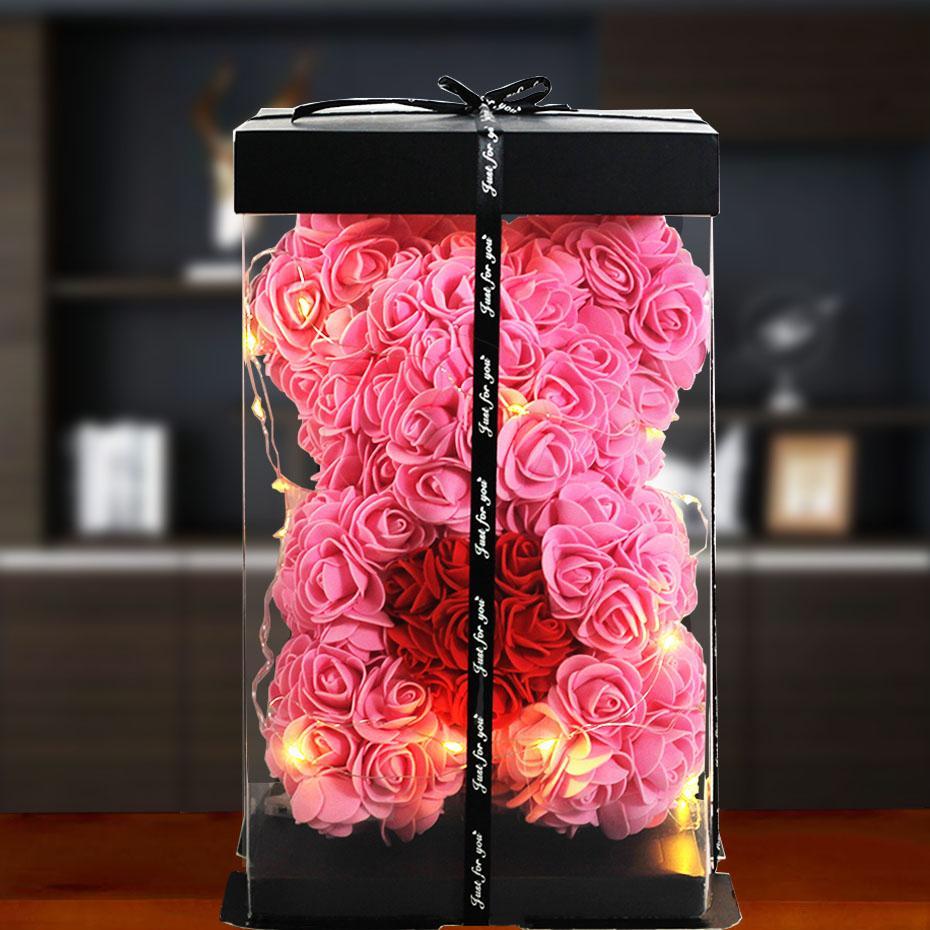 Прямая поставка, подарок на день Святого Валентина, Роза 25 см, мишка тедди, роза, цветок, искусственное украшение для женщин, Рождественский ...