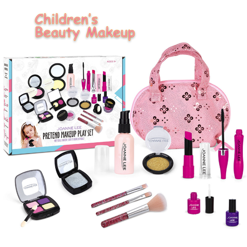 Pretend Play Princess Pink Makeup Kids Make Up Toy Set Beauty Safety Non-toxic Kit Toys For Girls Dressing Cosmetic Travel Bag