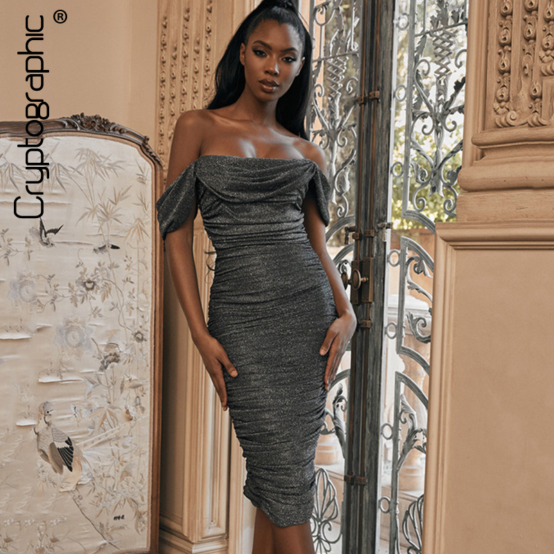 Cryptographic Ruched Strapless Glitter Chirstmas Midi Dresses Sexy Backless Party Night Club Black Dress Bodycon Vestido