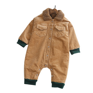 Image 5 - SINGBAIL Baby Rompers Winter Baby Boys Jumpsuits Corduroy Infant Girls Rompers Winter Baby Outfit Thicken Lining Baby Rompers Y0