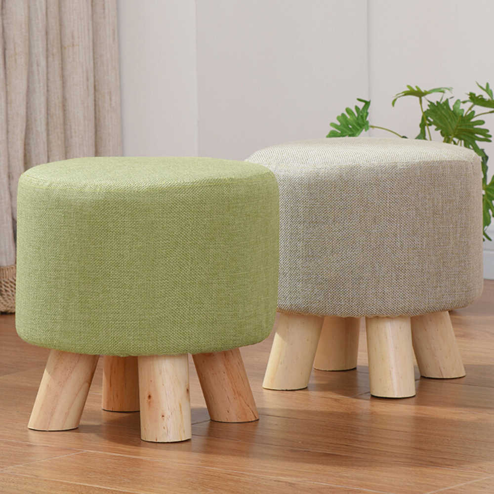 Ottoman Fabric Stool Round Stool Wooden Chair Sponge Footstool furniture Sofa Chair Art Small Seat with Removable Cover